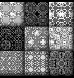 set of seamless ornamental pattern vector image