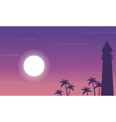 Silhouette of lighthouse and palm on the beach vector