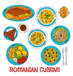 Sketches of romanian cuisine dishes vector image