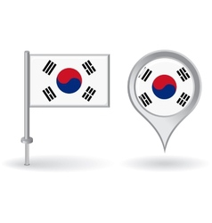 South Korean pin icon and map pointer flag vector image