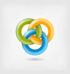 Three jelly interlocking rings vector
