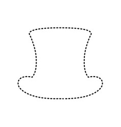 Top hat sign black dashed icon on white vector