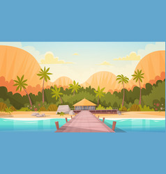 Tropical beach with water bungalow house landscape vector