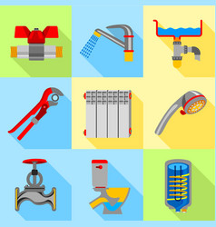 Type of plumbing work icons set flat style vector