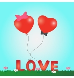 Valentines Day card heart balloon vector image vector image
