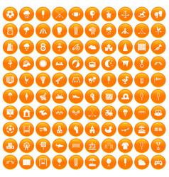 100 childrens playground icons set orange vector