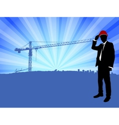 supervisor standing in front of construction site vector image