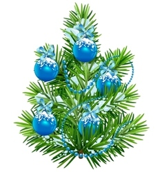 Little christmas tree with blue balls and garland vector