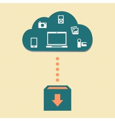 Cloud with electronic devices vector image