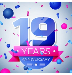 Nineteen years anniversary celebration on grey vector image