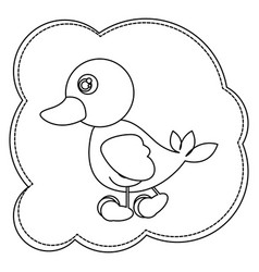 Silhouette cloud frame with duck side view animal vector