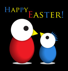 Easter greeting - two colored chicken eggs text vector