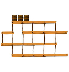 wooden bars and ropes with barrels on top vector image
