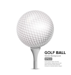 Golf ball on white tee realistic vector