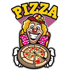Clown presenting the pizza vector