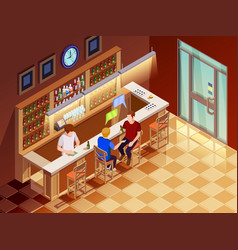Friends in bar interior isometric view vector