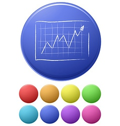 Small buttons and a big button with a graph vector image