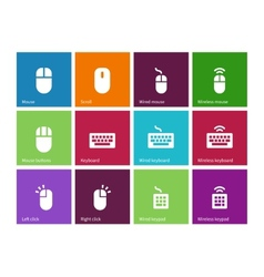 Mouse and num lock icons on color background vector