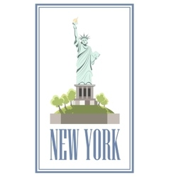New-york isolated statue of liberty on white vector