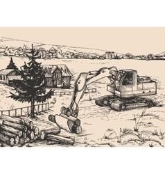 Agriculture rural village landscape vector