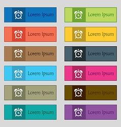 alarm clock icon sign Set of twelve rectangular vector image