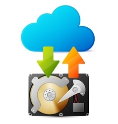 Backup data from HDD in the cloud vector image