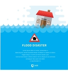 Building soaking under flood disaster vector