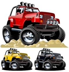 cartoon jeep one-click repaint vector image