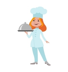 Chef standing woman cook vector