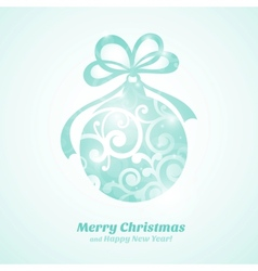 Christmas card with blue ball and text vector image vector image