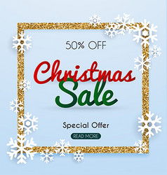 Christmas sale banner in a frame of gold glitter vector