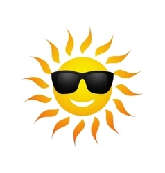 Cute cartoon summer sun icon vector image vector image