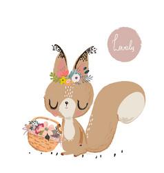 cute summer squirrel vector image vector image