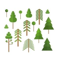 Flat design green trees summer set vector image