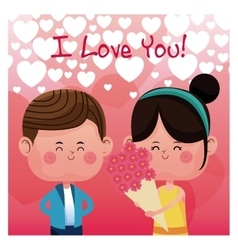 Girl flowers boy love you rain heart background vector