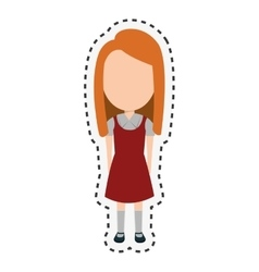 girl student character isolated icon vector image
