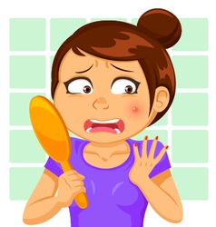 girl with a pimple vector image vector image