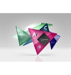 Glass triangles composition on grey 3d vector
