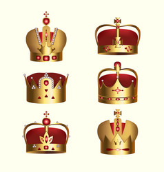 Golden monarchy crown isolated set vector