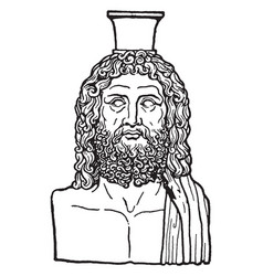 Greek vase of serapis is an egyptian god in vector