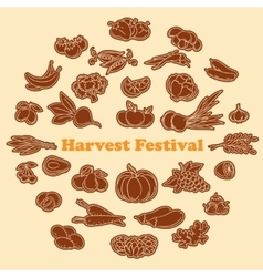 Harvest festival stickers set vector