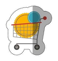 Isolated shopping cart and seal stamp design vector