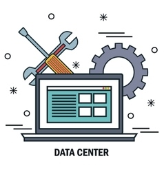 laptop support work data center server isolated vector image