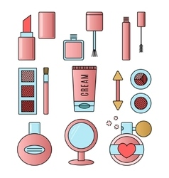 Make up and cosmetics pink set vector