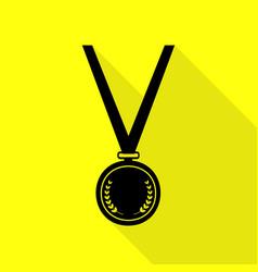 Medal simple sign black icon with flat style vector