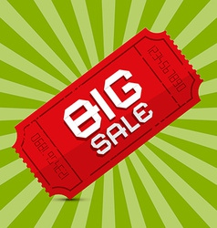 Red Big Sale Paper Ticket on Green Background vector image vector image