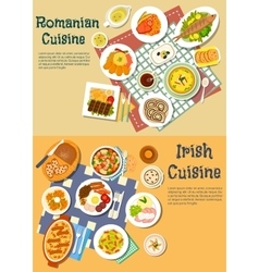 Rich food of romanian and irish cuisine flat icon vector image