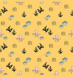 Seamless sea pattern decorative background with vector
