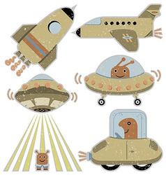 Set of cute spaceships vector