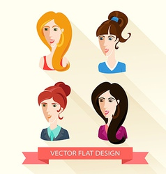 Set of flat design womens portraits vector image vector image